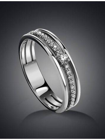 White Gold Ring With Diamond Pavé, Ring Size: 6 / 16.5, image , picture 2