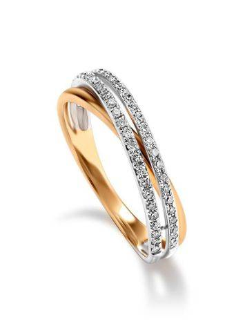 Classy Diamond Ring In White And Yellow Gold, Ring Size: 7 / 17.5, image