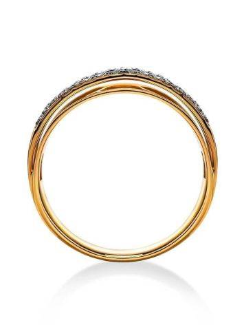 Triple band Golden Ring With Diamonds, Ring Size: 8 / 18, image , picture 3