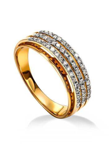 Triple band Golden Ring With Diamonds, Ring Size: 8 / 18, image