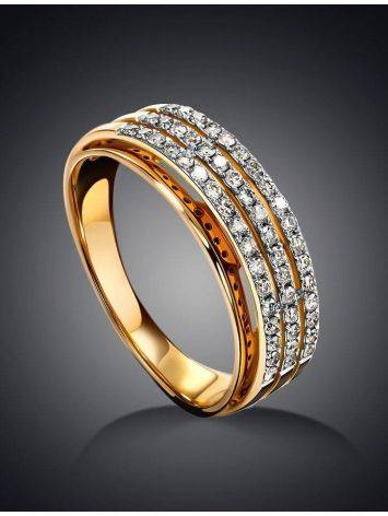 Triple band Golden Ring With Diamonds, Ring Size: 8 / 18, image , picture 2