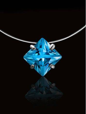Light Blue Crystal Invisible Necklace The Aurora, image , picture 2