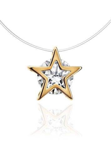 Invisible Necklace With Star Shaped Golden Pendant The Aurora, image