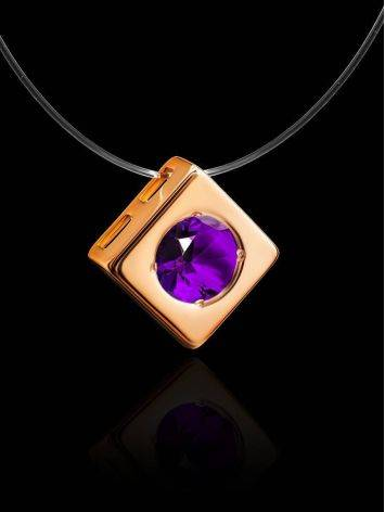 Invisible Necklace With Square Golden Pendant The Aurora, image , picture 2