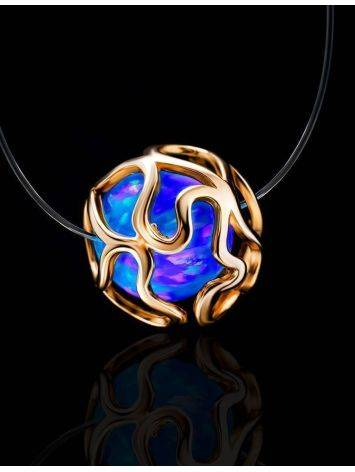 Invisible Necklace With Synthetic Opal In Gold The Aurora, image , picture 2
