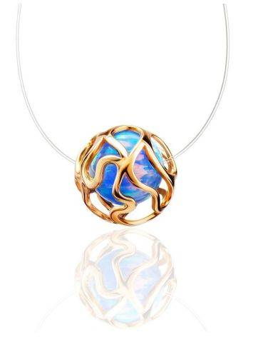 Invisible Necklace With Synthetic Opal In Gold The Aurora, image