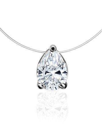 Invisible Necklace With White Crystal Pendant The Aurora, image