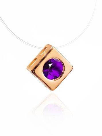 Invisible Necklace With Square Golden Pendant The Aurora, image , picture 3