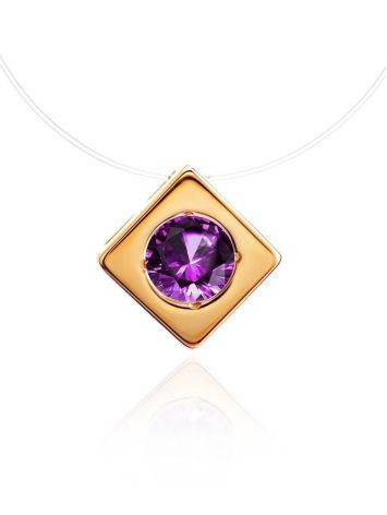 Invisible Necklace With Square Golden Pendant The Aurora, image