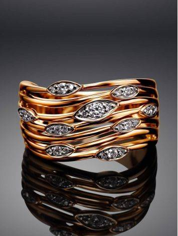 Bold Golden Ring With 27 Diamonds, Ring Size: 8 / 18, image , picture 2