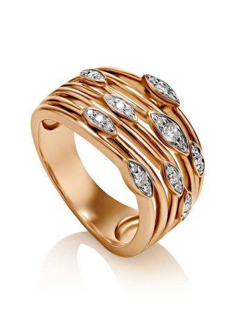 Bold Golden Ring With 27 Diamonds, Ring Size: 8 / 18, image