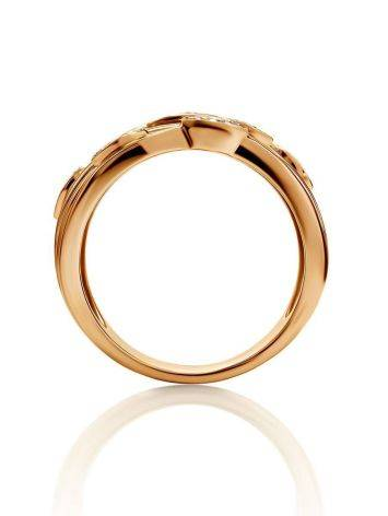 Bold Golden Ring With 27 Diamonds, Ring Size: 8 / 18, image , picture 3