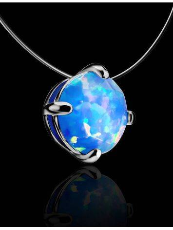Invisible Necklace With Chameleon Synthetic Opal In Silver The Aurora, image , picture 2