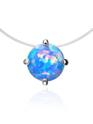 Invisible Necklace With Chameleon Synthetic Opal In Silver The Aurora, image