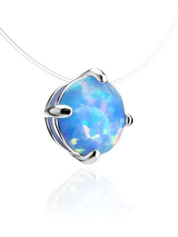 Invisible Necklace With Chameleon Synthetic Opal In Silver The Aurora, image , picture 3