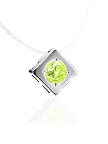 Minimalistic Fishing Line Necklace With Citrus Colored Crystal The Aurora, image , picture 3