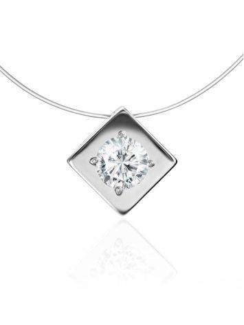 Fishing Line Necklace With White Crystal Pendant The Aurora, image