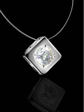 Fishing Line Necklace With White Crystal Pendant The Aurora, image , picture 2