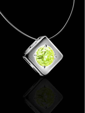 Minimalistic Fishing Line Necklace With Citrus Colored Crystal The Aurora, image , picture 2