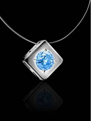 Stylish Fishing Line Necklace With Light Blue Crystal The Aurora, image , picture 2