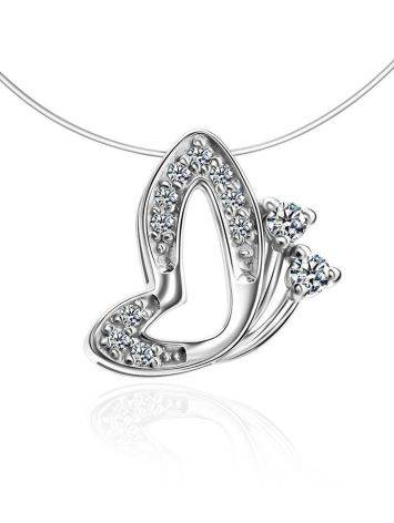 Invisible Necklace With Silver Butterfly Pendant The Aurora, image