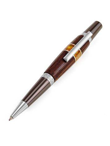 Handcrafted Wooden Ball Pen With Natural Amber, image
