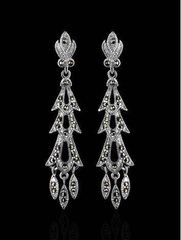 Elegant Sterling Silver Dangle Earrings With Dark Marcasites The Lace, image , picture 2