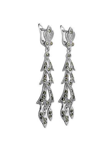 Elegant Sterling Silver Dangle Earrings With Dark Marcasites The Lace, image , picture 4