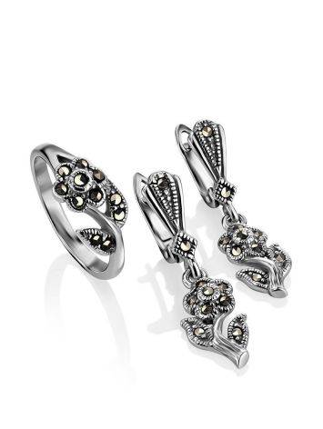 Silver Floral Ring With Marcasites The Lace, Ring Size: 6 / 16.5, image , picture 4