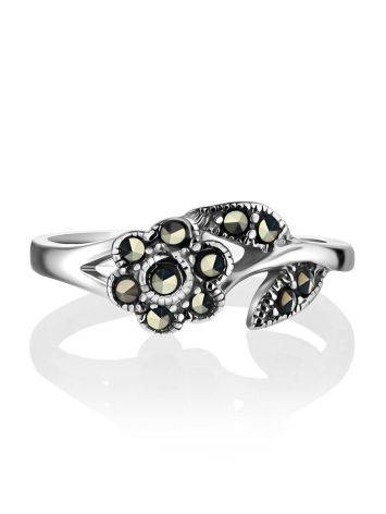 Silver Floral Ring With Marcasites The Lace, Ring Size: 6 / 16.5, image , picture 2