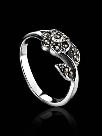 Silver Floral Ring With Marcasites The Lace, Ring Size: 6 / 16.5, image , picture 3