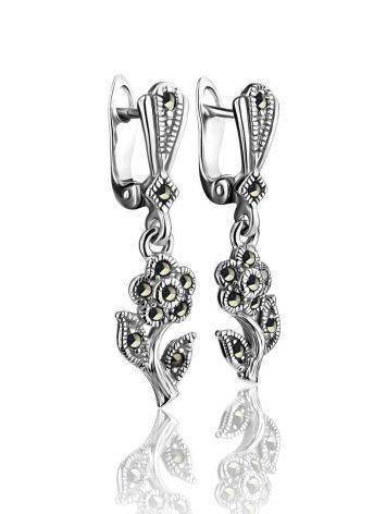 Silver Floral Dangles With Marcasites The Lace, image