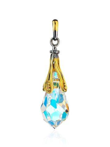 Teardrop Shape Crystal Pendant In Gold Plated Silver The Fame, image