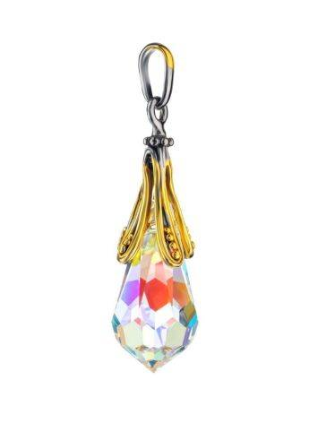 Teardrop Shape Crystal Pendant In Gold Plated Silver The Fame, image , picture 3