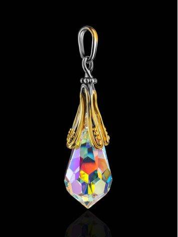 Teardrop Shape Crystal Pendant In Gold Plated Silver The Fame, image , picture 2