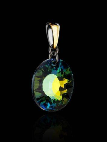 Round Crystal Pendant In Gold Plated Silver The Fame, image , picture 2