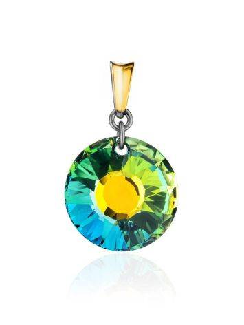 Round Crystal Pendant In Gold Plated Silver The Fame, image