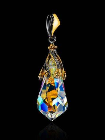 Crystal Teardrop Pendant In Gold Plated Silver The Fame, image , picture 2