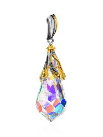 Crystal Teardrop Pendant In Gold Plated Silver The Fame, image , picture 3