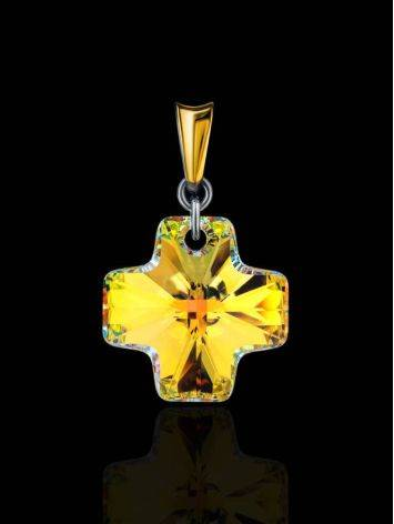 Crystal Cross Pendant In Gold Plated Silver The Fame, image , picture 2