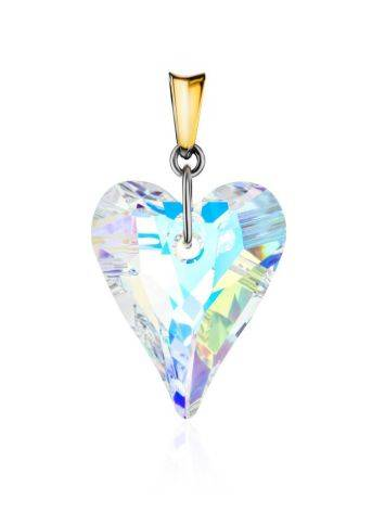 Crystal Heart Pendant In Gold Plated Silver The Fame, image