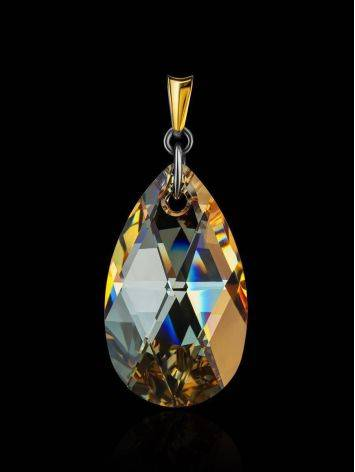 Bold Crystal Pendant In Gold Plated Silver The Fame, image , picture 2