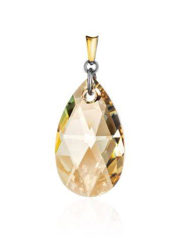 Bold Crystal Pendant In Gold Plated Silver The Fame, image