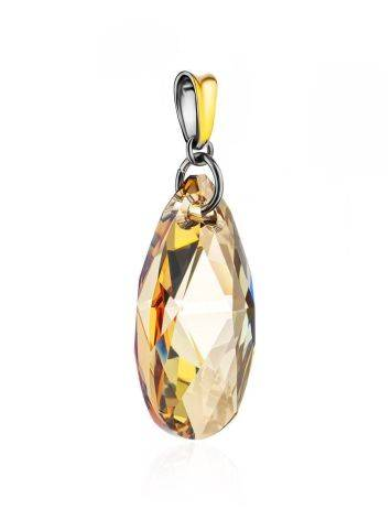 Bold Crystal Pendant In Gold Plated Silver The Fame, image , picture 3