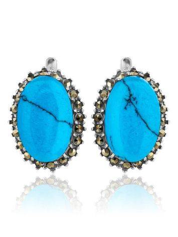 Silver Earrings With Oval Reconstructed Turquoise Centerstones And Marcasites, image , picture 3