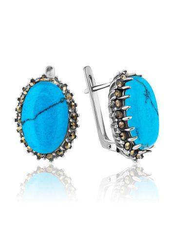 Silver Earrings With Oval Reconstructed Turquoise Centerstones And Marcasites, image