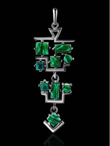 Sterling Silver Dangle Pendant With Reconstructed Malachite, image , picture 2