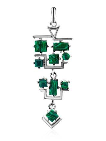 Sterling Silver Dangle Pendant With Reconstructed Malachite, image