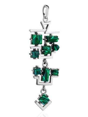Sterling Silver Dangle Pendant With Reconstructed Malachite, image , picture 3
