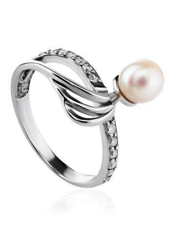 Classy Silver Ring With Cultured Pearl And Crystals The Serene, Ring Size: 6.5 / 17, image